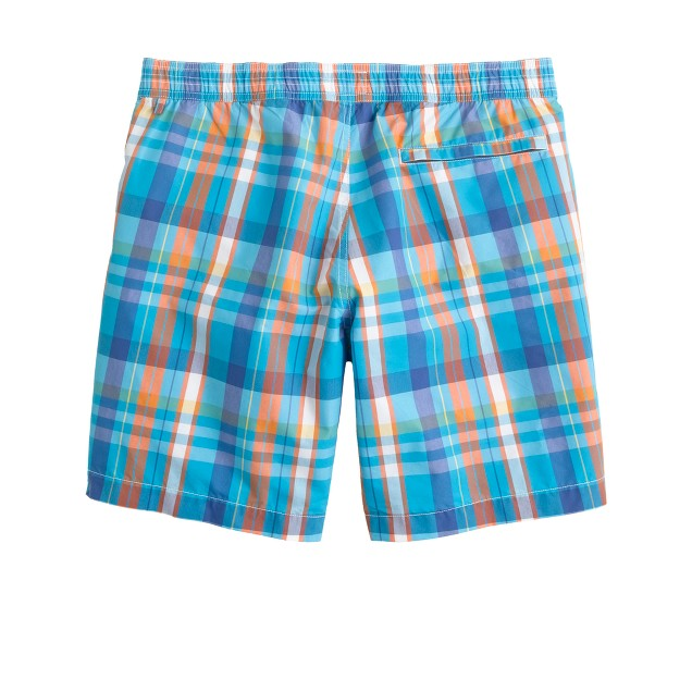 """7"""" plaid board shorts in turquoise blue"""