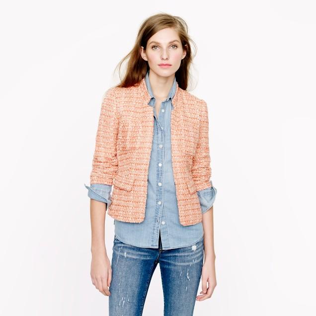 Coral tweed blazer