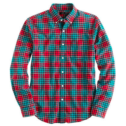 Oxford plaid shirt in festive red
