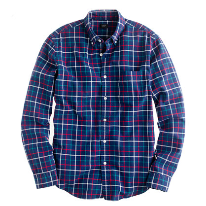 Slim oxford plaid shirt in classic navy