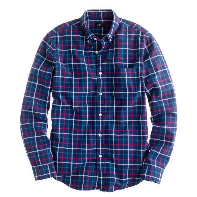 Tall oxford plaid shirt in classic navy