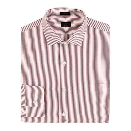 Ludlow spread-collar shirt in burgundy stripe