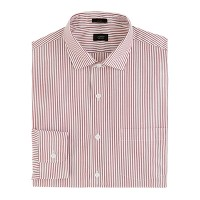 Ludlow spread-collar shirt in burgundy stripe