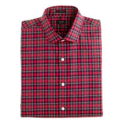 Ludlow spread-collar shirt in danbury red tartan