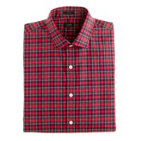 Ludlow spread-collar shirt in danbury red tartan