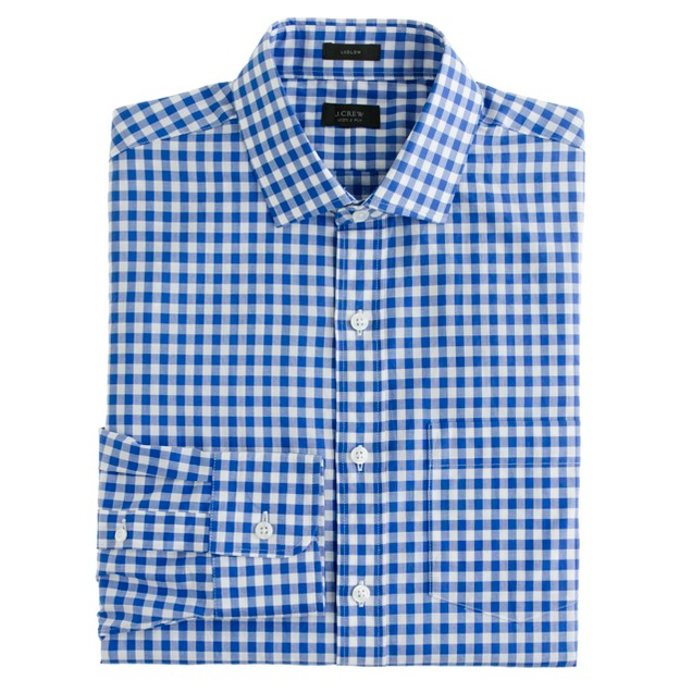 Ludlow spread-collar shirt in large gingham