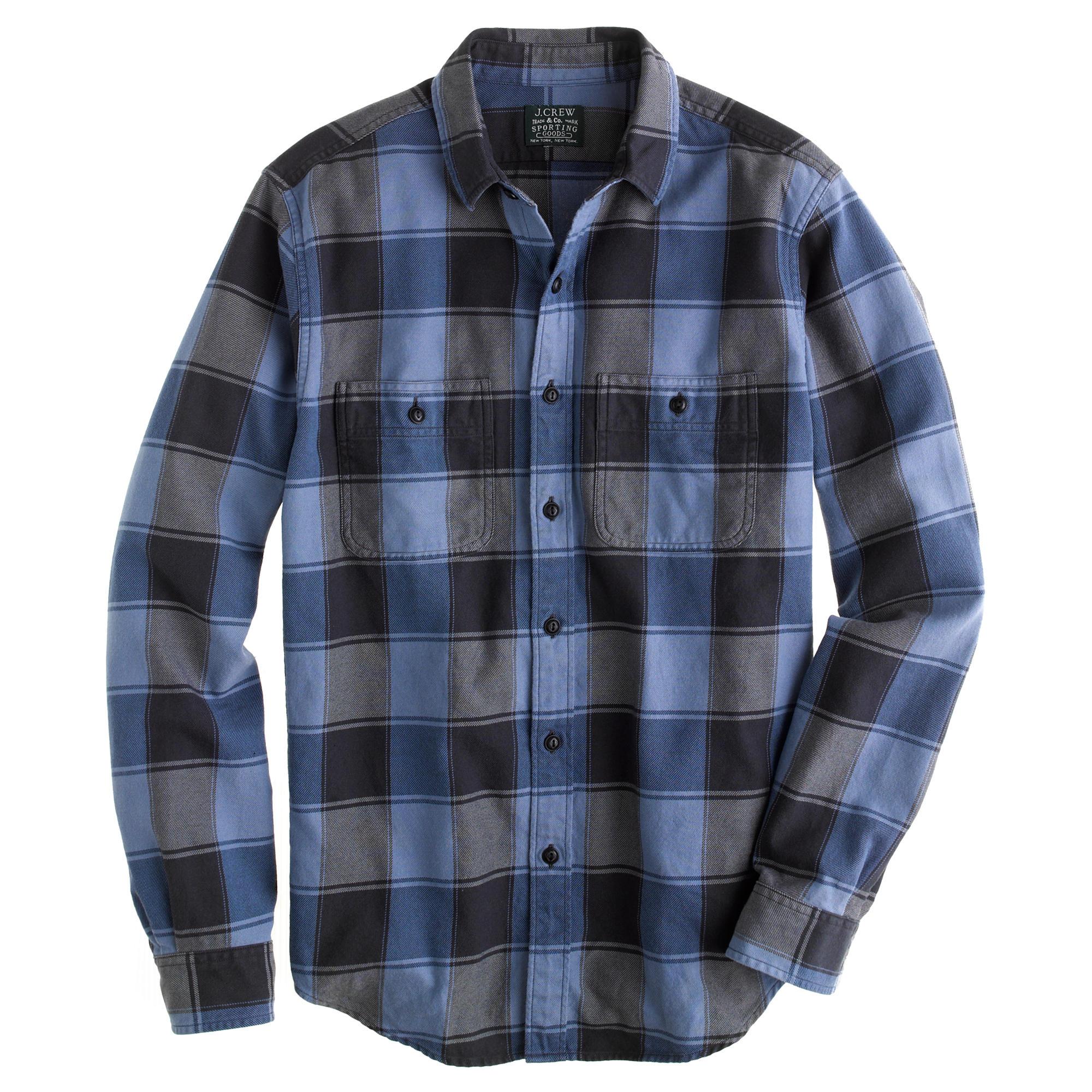 flannel shirt in cambridge blue plaid j crew