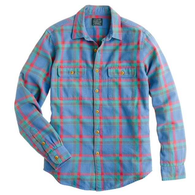 Flannel shirt in Cambridge blue plaid