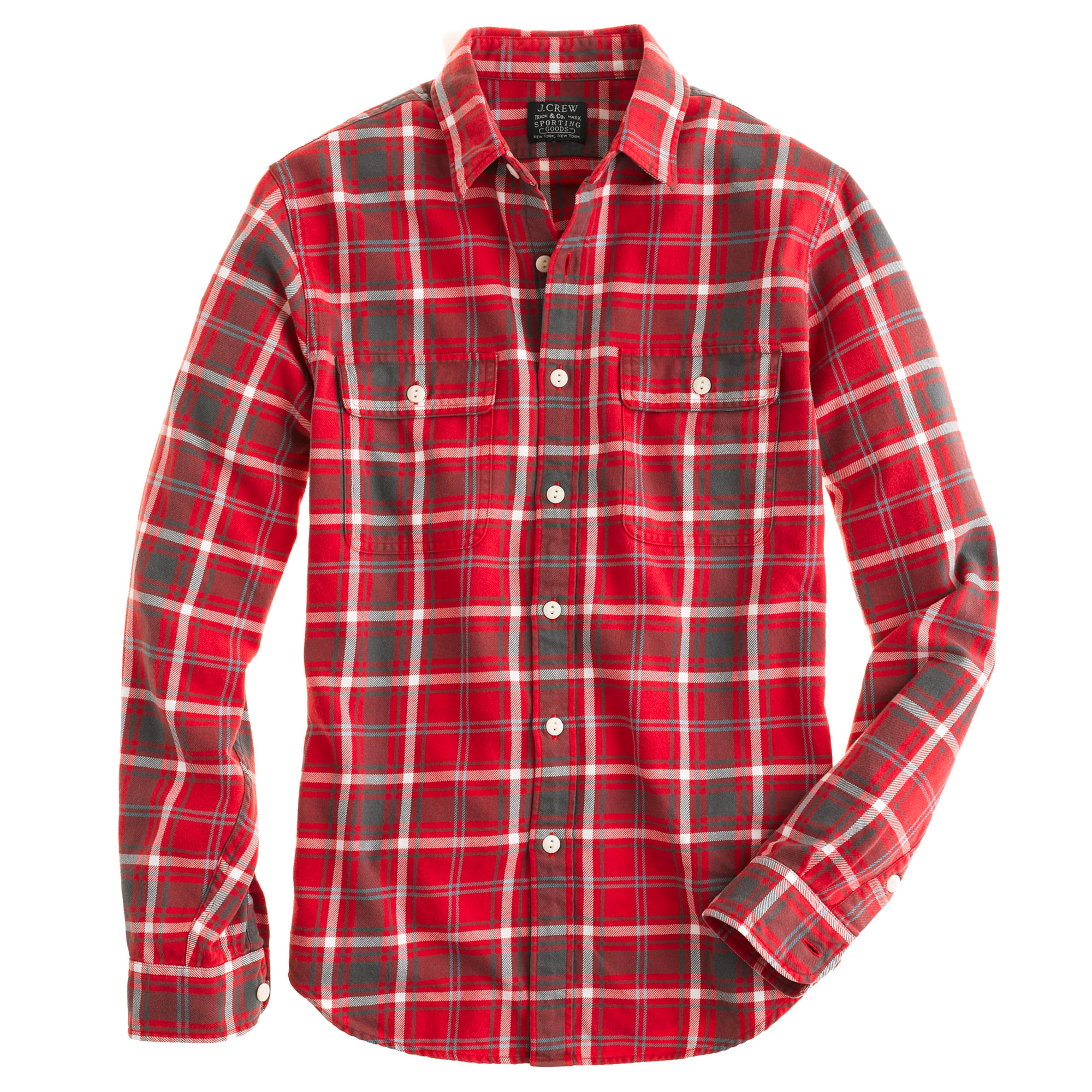 Flannel shirt in rusted red plaid j crew for How to wash flannel shirts
