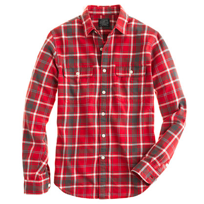 Slim flannel shirt in rusted red plaid