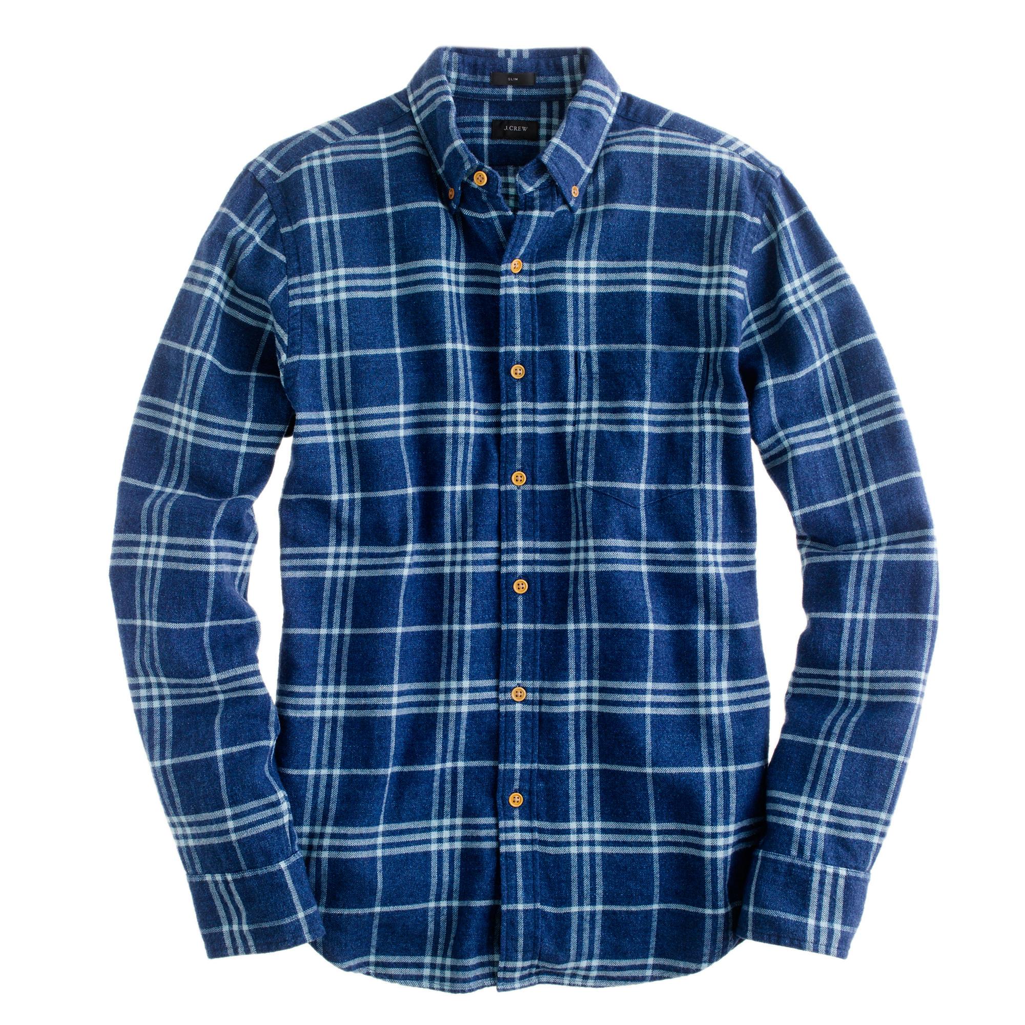 Slim brushed twill shirt in indigo check j crew for Brushed cotton twill shirt