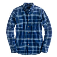 Slim brushed twill shirt in indigo check