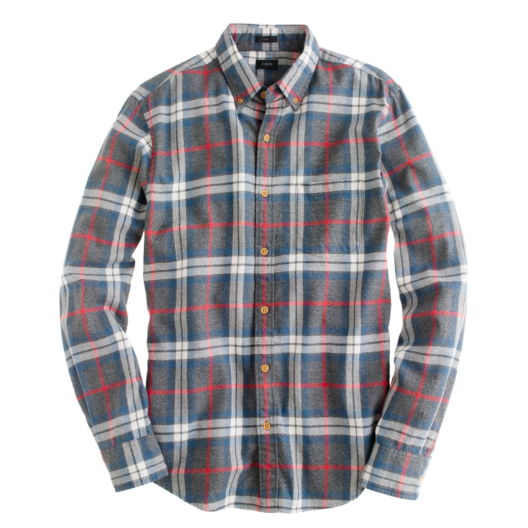Slim brushed twill shirt in dark danbury red plaid j crew for Brushed cotton twill shirt