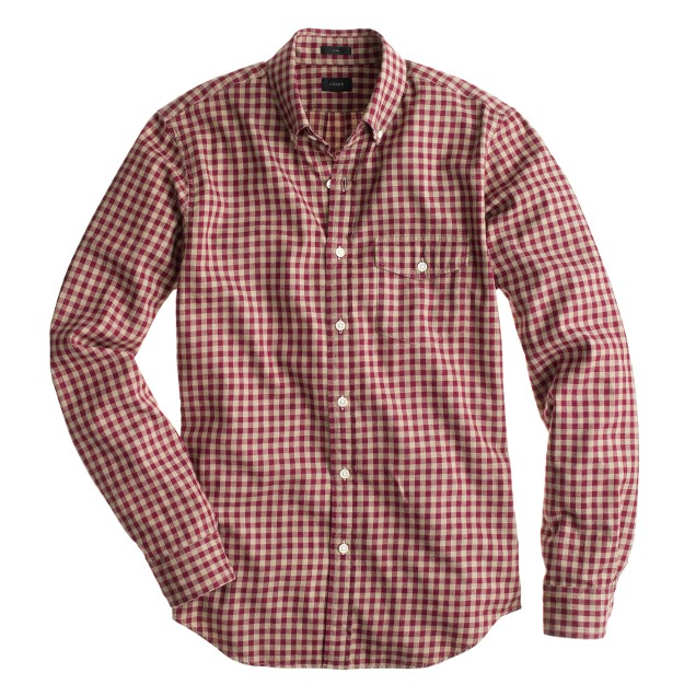 Slim brushed twill shirt in buffalo check