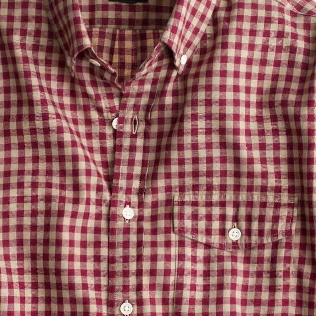 Slim brushed twill shirt in buffalo check