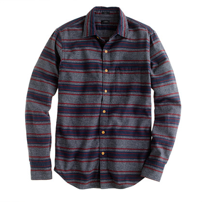 Slim brushed twill jaspé shirt in stripe
