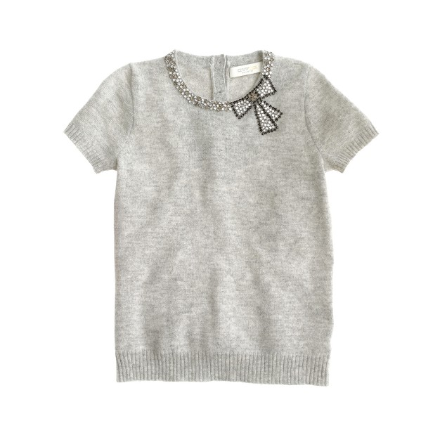 Girls' cashmere sparkle bow tee
