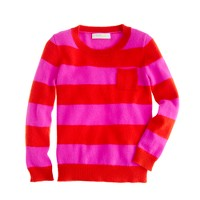 Girls' cashmere tee in stripe