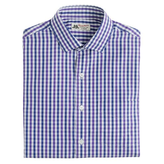 Thomas Mason® for J.Crew spread-collar dress shirt in purple check