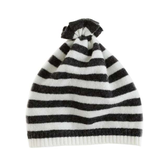Collection baby cashmere stripe pouf hat