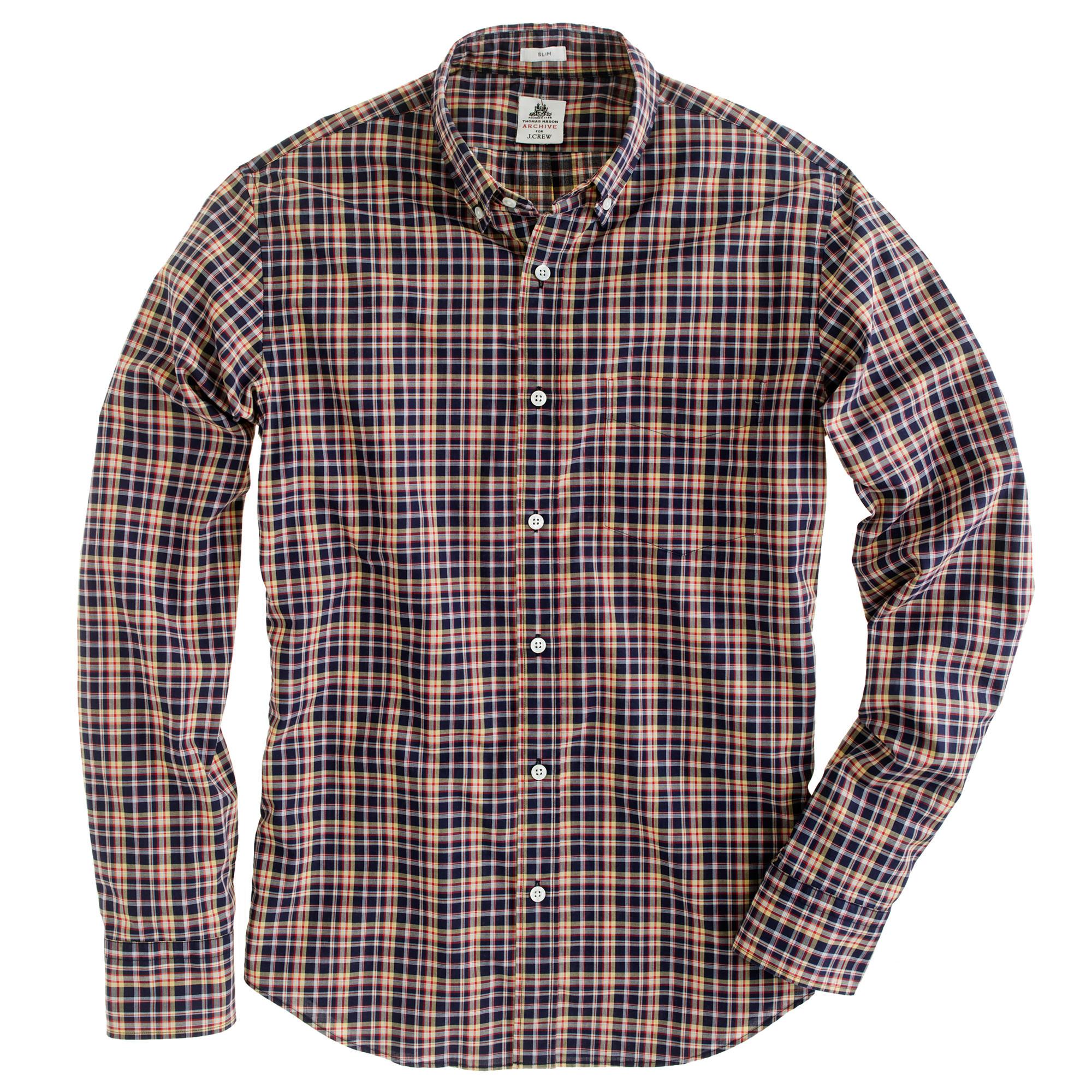Slim thomas mason archive for j crew shirt in 1881 plaid for Thomas mason dress shirts