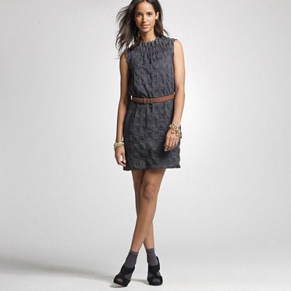 Petite checkered puckered shift dress