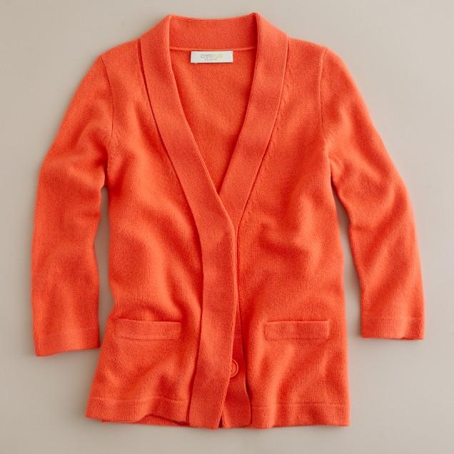 Girls' cashmere shawl-collar cardigan