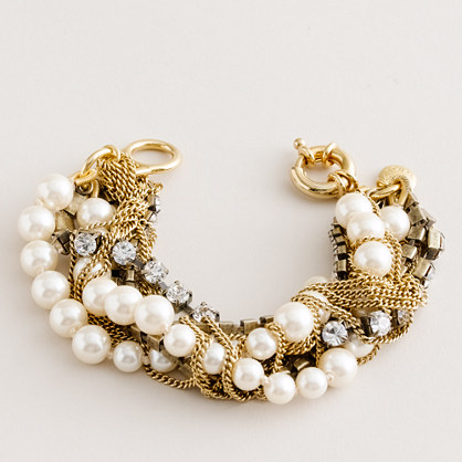 Crystal-and-pearl pastiche bracelet