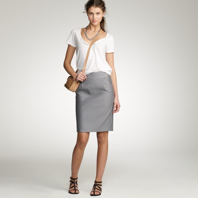Stretch double-serge pencil skirt