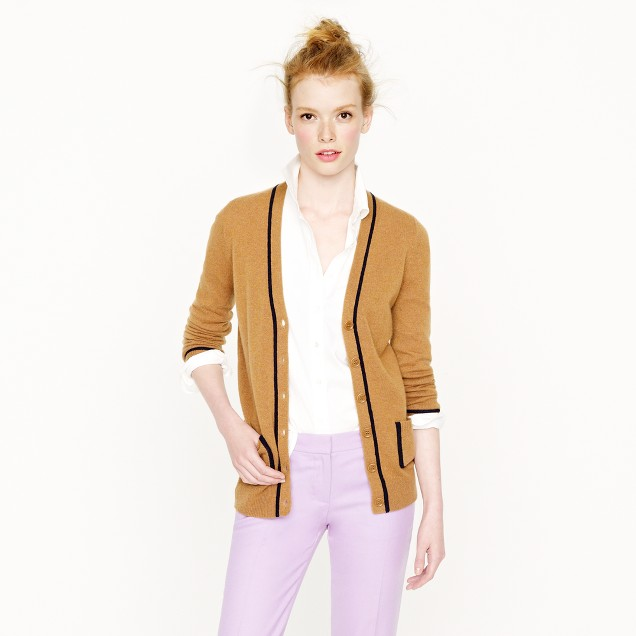 Collection cashmere tipped boyfriend cardigan