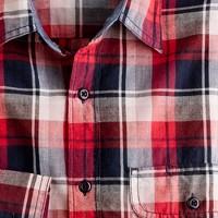 Point-collar shirt in lodestar madras