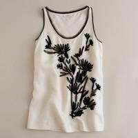 Iris embroidery tank