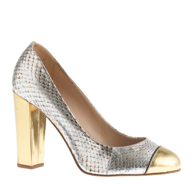 Collection Etta cap toe snakeskin pumps
