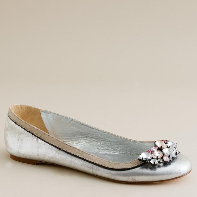 Regina metallic-leather ballet flats