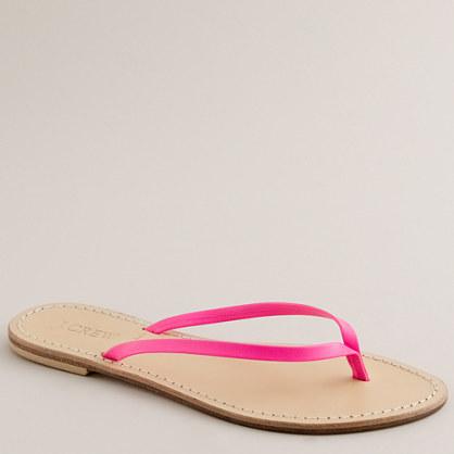 Neon leather capri sandals