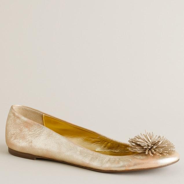 Pom-pom metallic leather ballet flats