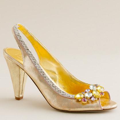 Regina metallic leather high-heel slingback peep toes