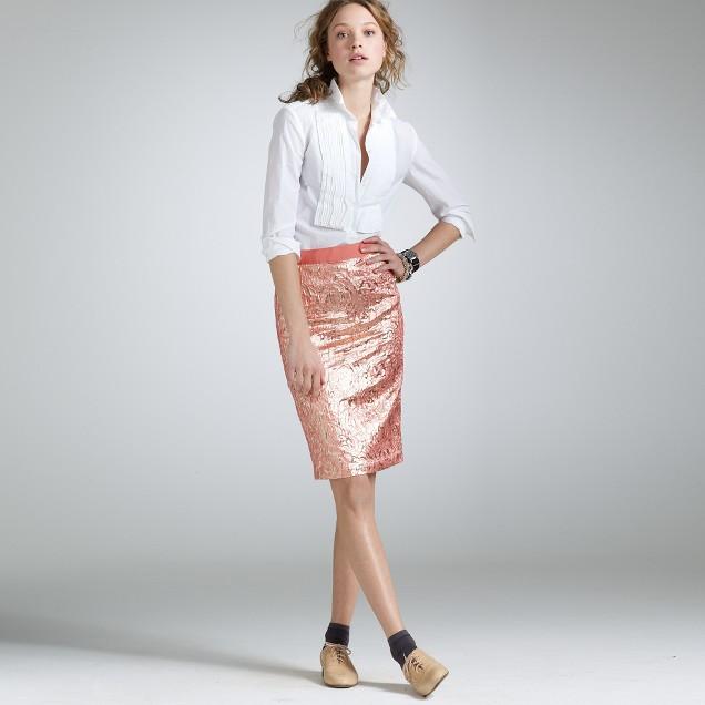 Lipstick gold foil pencil skirt