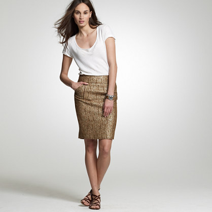 Crackled copper pencil skirt