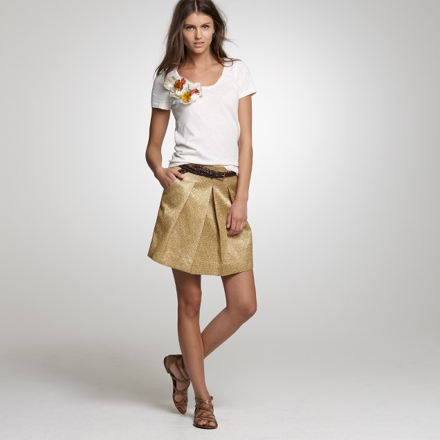 Metallic moss jacquard skirt