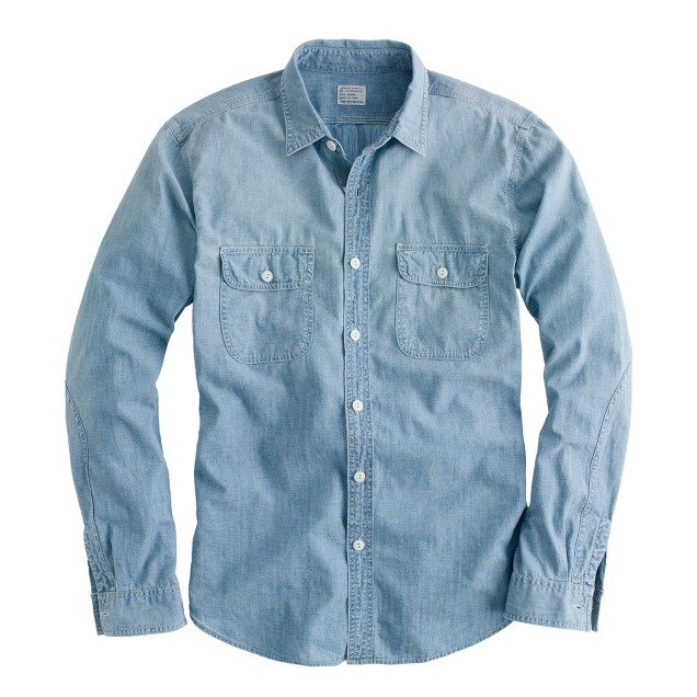 Washed selvedge chambray utility shirt