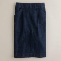 Tailored denim pencil skirt