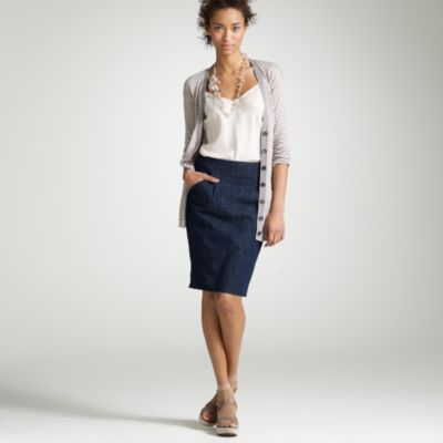 Petite tailored denim pencil skirt : Women skirts | J.Crew