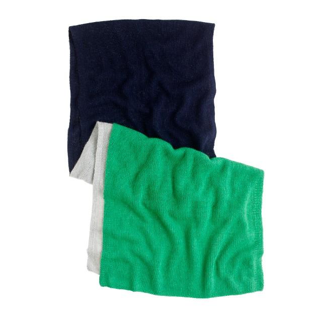 Wool-angora colorblock scarf