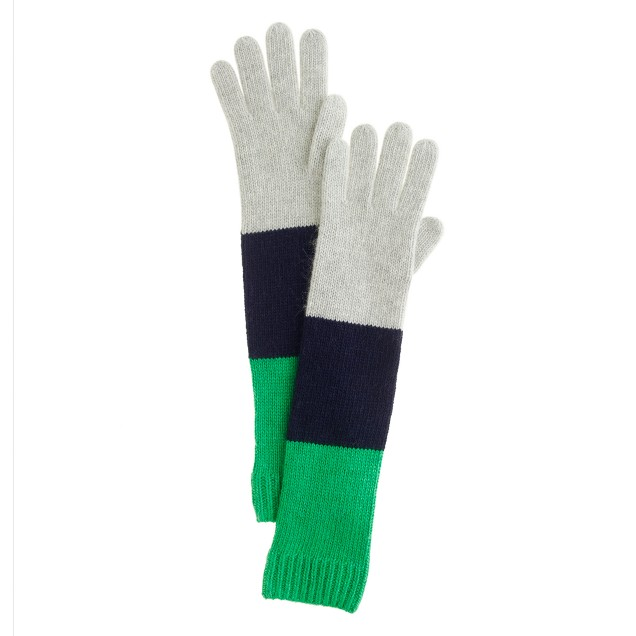 Wool-angora colorblock gloves