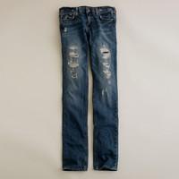 Vintage matchstick jean in repaired indigo wash