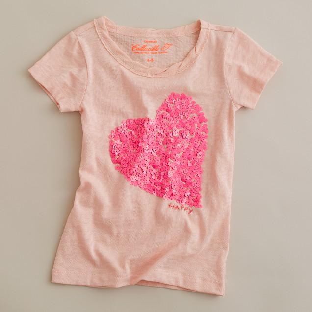 Girls' sequin heart tee
