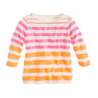 Girls' three-quarter sleeve stripe sequin tee