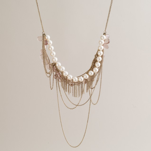 Glass pebble and fringe necklace