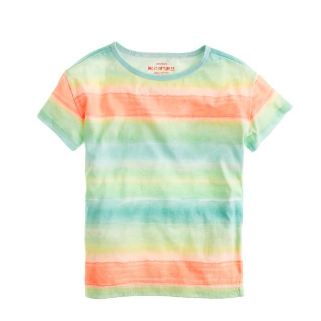 Girls' relaxed tee in tie-dye stripe